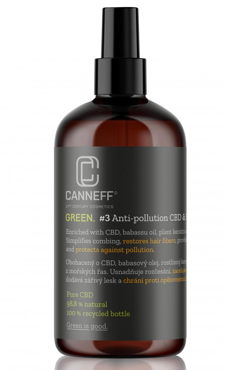 CANNEFF® Green #3 Anti-pollution CBD and Plant Keratin Hair Spray Foto: Canneff